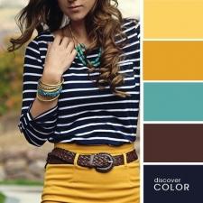 4. Azul marinho, marrom e tonalidades de amarelo