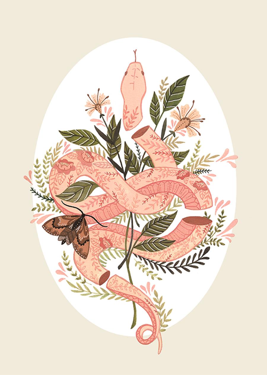 Priscila-Barbosa-ilustração-sobre-serpente-borboletas-e-plantas