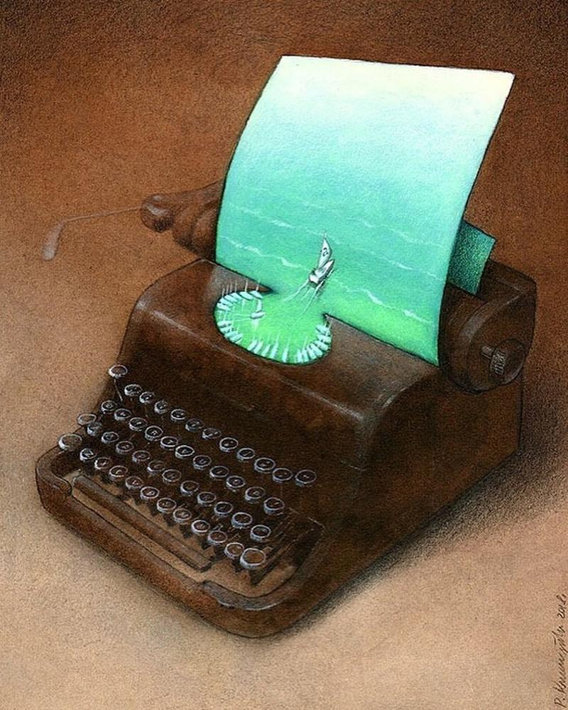 As ideias de um escritor navegam