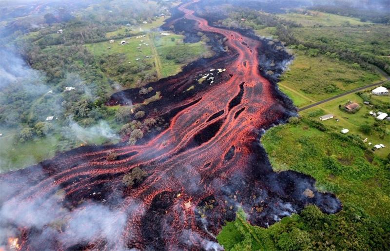 O vulcão Kilauea em erupção, no Havaí