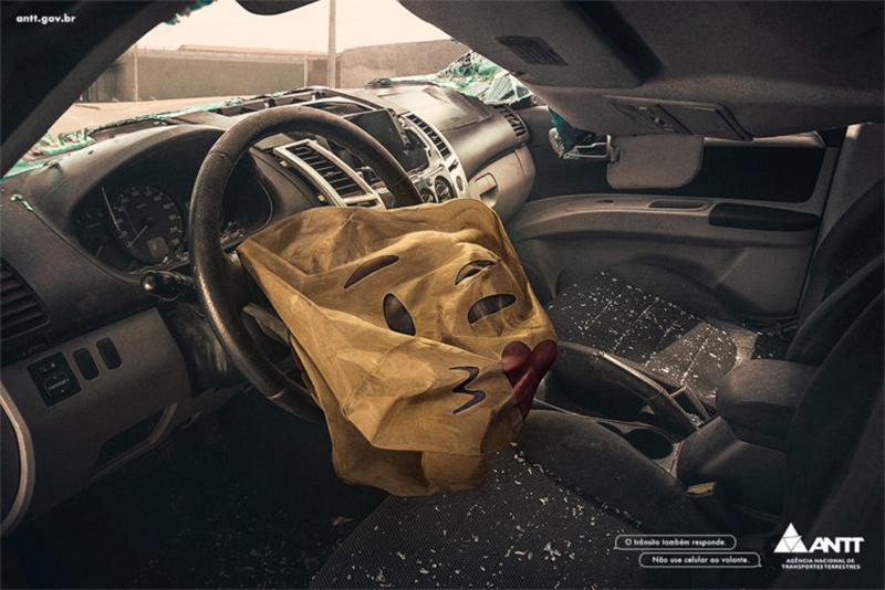 Campanha mostra que usar celular ao volante é uma péssima ideia