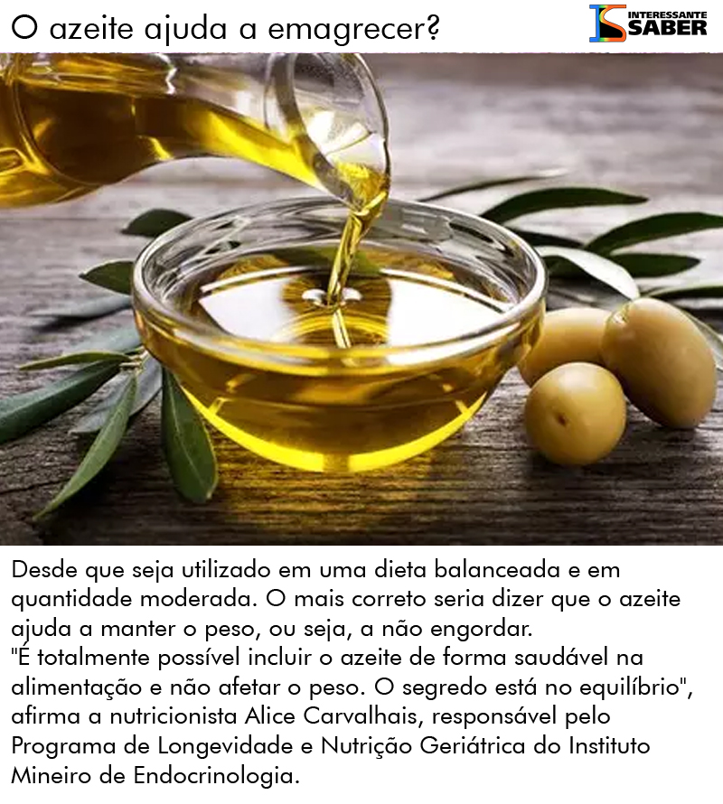 azeite ajuda a emagrecer