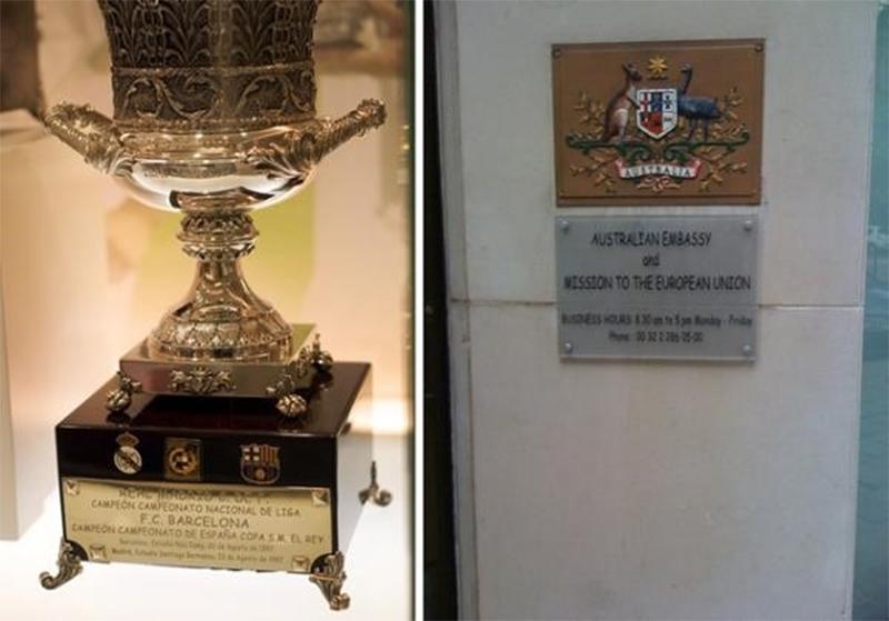 Troféu da Supercopa da Espanha e embaixada da Austrália usando Comic Sans (Fonte da imagem: Flickr/Comic Sans Group)