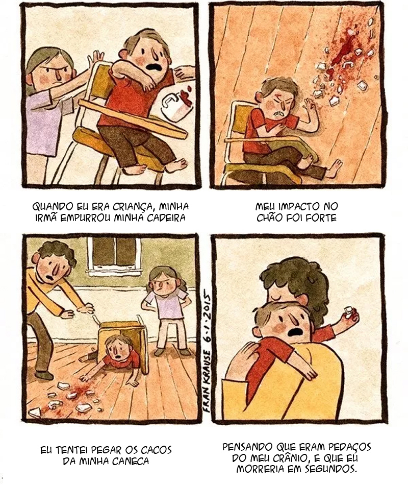 medo de quebrar o crânio