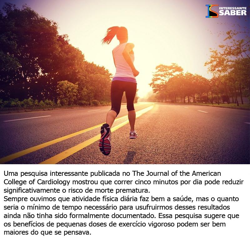 Correr apenas 5 minutos por dia reduz o risco de morte prematura