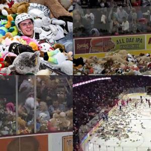 45 mil ursinhos de pelúcia são jogados em quadra para crianças carentes