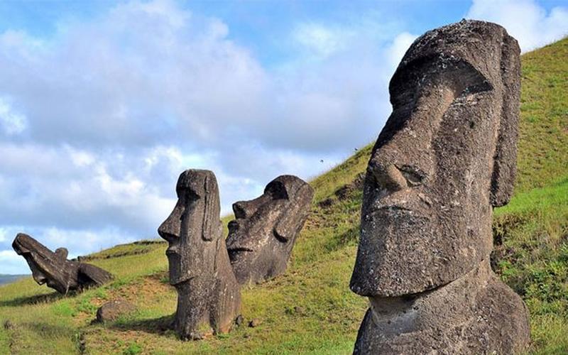 As cabeças da ilha de Páscoa.